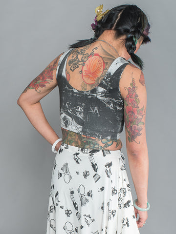 SHERENE CROP TOP Sporty Summer Stretchy Sleeveless Crop Top made from organic cotton and bamboo Jersey in london print