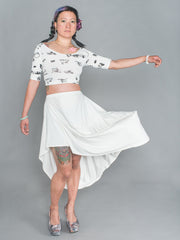ARIADNE SKIRT Asymmetrical Draped Skirt made from Organic Cotton and Bamboo Jersey in white