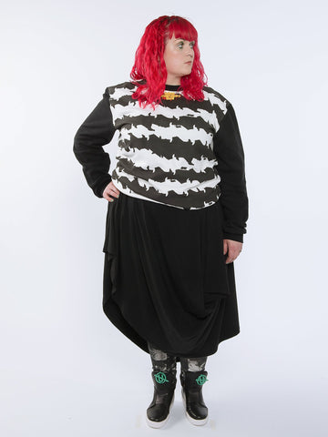ARIADNE SKIRT Asymmetrical Draped Skirt made from Organic Cotton and Bamboo Jersey in black