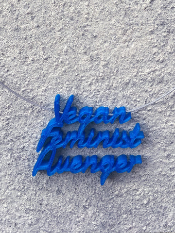VEGAN FEMINIST AVENGER Statement 3D Printed Necklace in blue the perfect gift