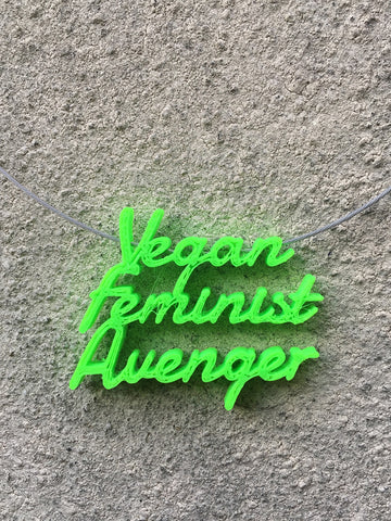 VEGAN FEMINIST AVENGER Statement 3D Printed Necklace in lime the perfect gift