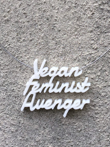 VEGAN FEMINIST AVENGER Statement 3D Printed Necklace in white the perfect gift