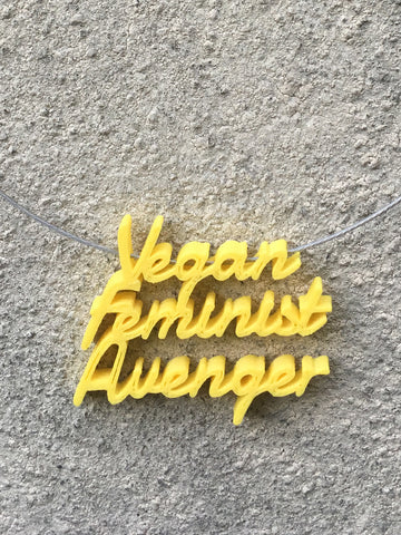 VEGAN FEMINIST AVENGER Statement 3D Printed Necklace in yellow the perfect gift
