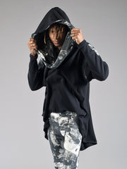 ALI HOODIE oversized hooded top made from Organic Cotton and Bamboo Jersey Black with london print