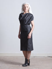 ZOE DRESS Draped Bodice Dress with a Cinched waist and calf-length pencil skirt made from dark blue Organic Cotton Denim