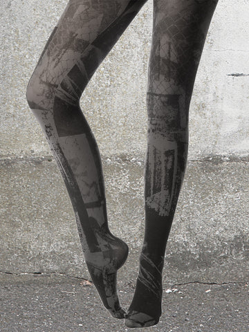 BLACK URBAN PRINT TIGHTS