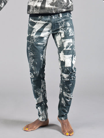 BOYFRIEND TROUSERS made from Stretch Organic Cotton in london print white