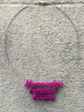 HUMOURLESS FEMINIST Statement Humourless Feminist Killjoy 3D Printed Necklace the perfect gift in purple