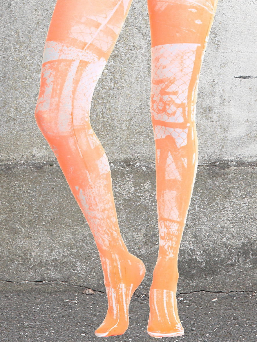 ORANGE URBAN PRINT TIGHTS | main | white | front