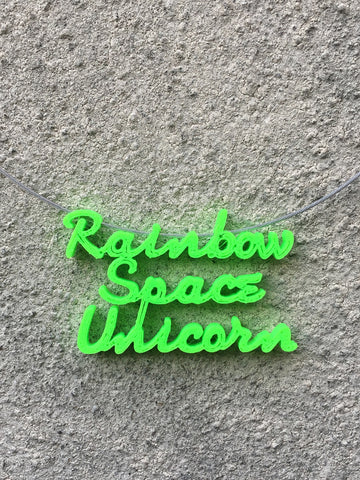 RAINBOW SPACE UNICORN Statement 3D Printed Necklace in lime the perfect gift