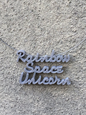 RAINBOW SPACE UNICORN Statement 3D Printed Necklace in grey the perfect gift