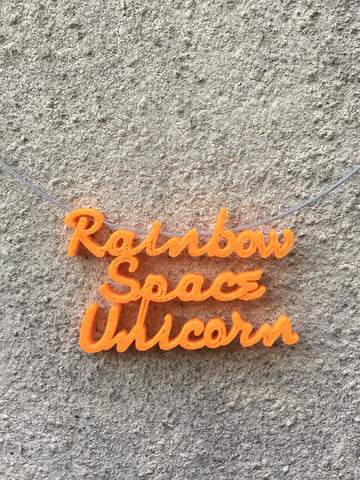 RAINBOW SPACE UNICORN Statement 3D Printed Necklace in orange the perfect gift