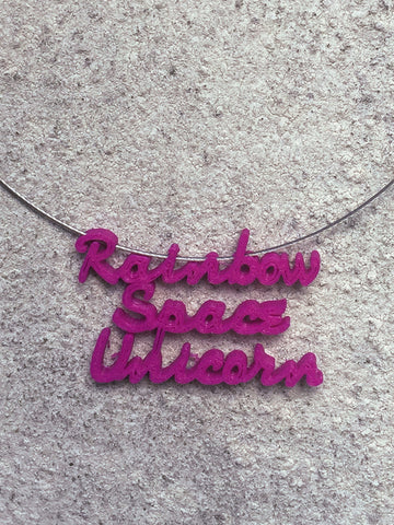 RAINBOW SPACE UNICORN Statement 3D Printed Necklace in purple the perfect gift