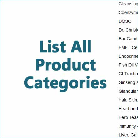 natural product health category list image
