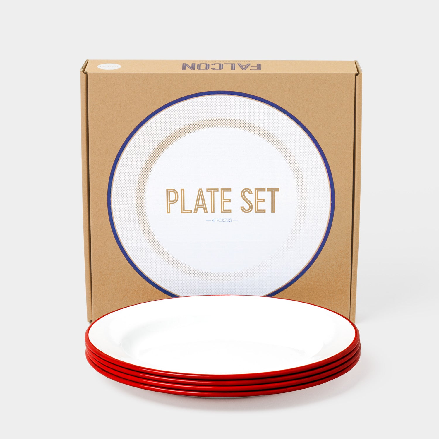 Falcon Original Enamel Plates - Pillarbox Red - Set of Four