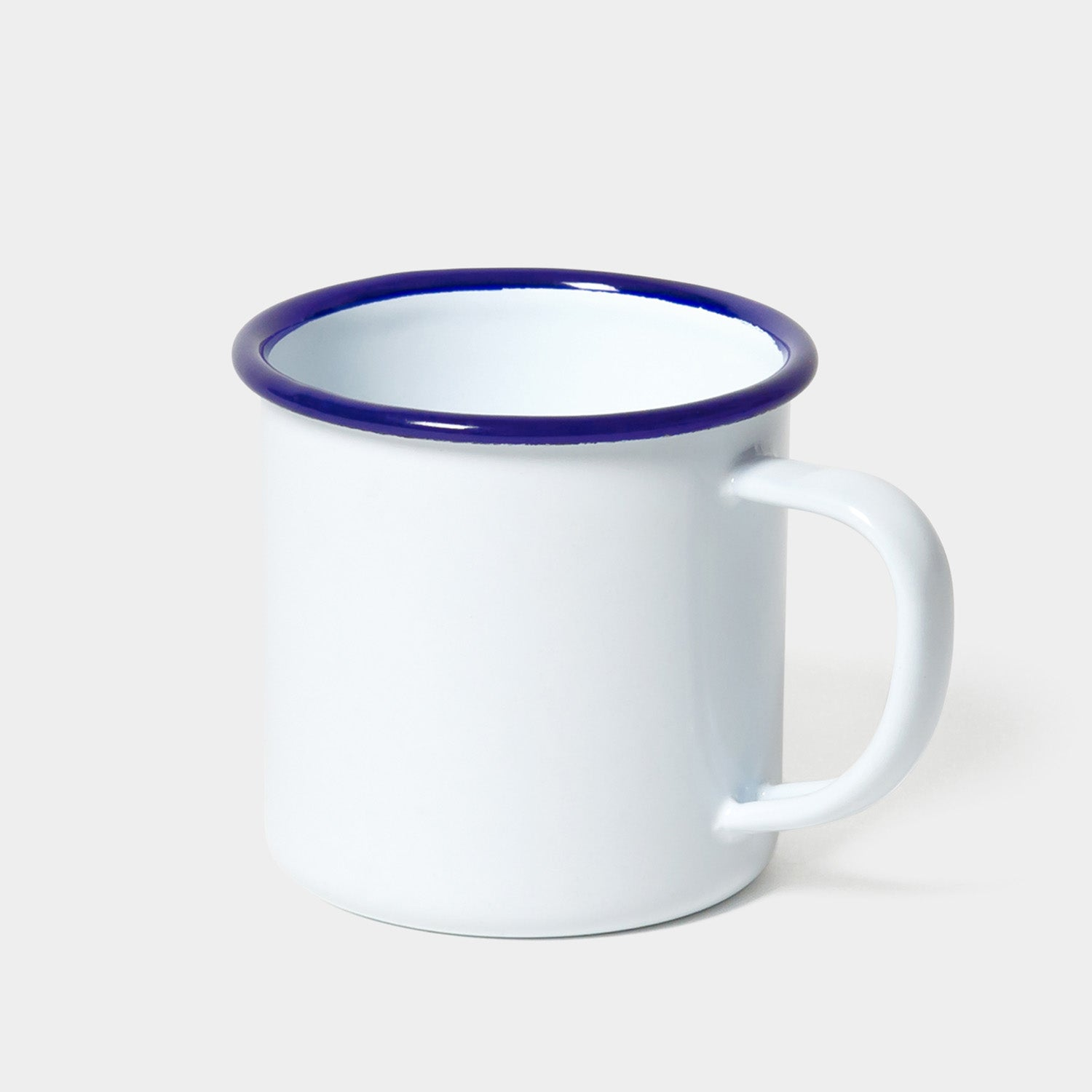 Falcon Original Enamel Mug - White with Blue Rim