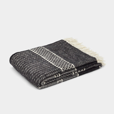 Klippan Quilt Lambs Wool Throw - Black