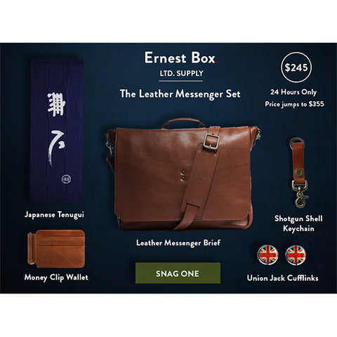 Ernest Box: Leather Messenger Set - Ernest Alexander