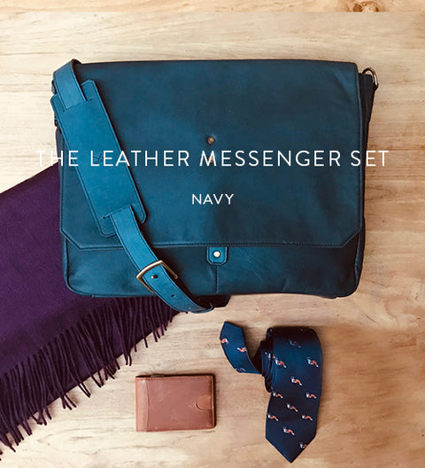 Ernest Box | The Leather Messenger (Navy)