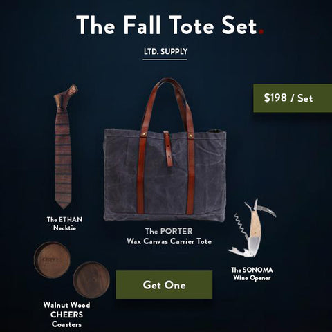 Ernest Box: The Fall Tote Set - Slate Wax Canvas - Ernest Alexander