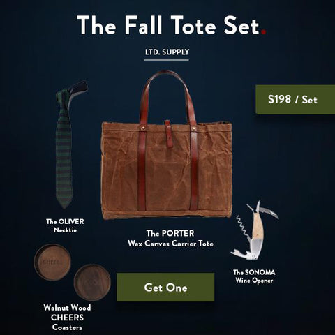 Ernest Box: The Fall Tote Set - Tobacco Wax Canvas - Ernest Alexander