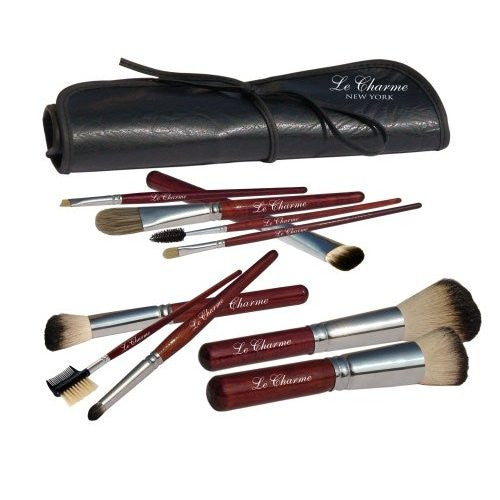 LeCharme Professional 11 pc Italian Badger Large Brush Set with Leather Pouch