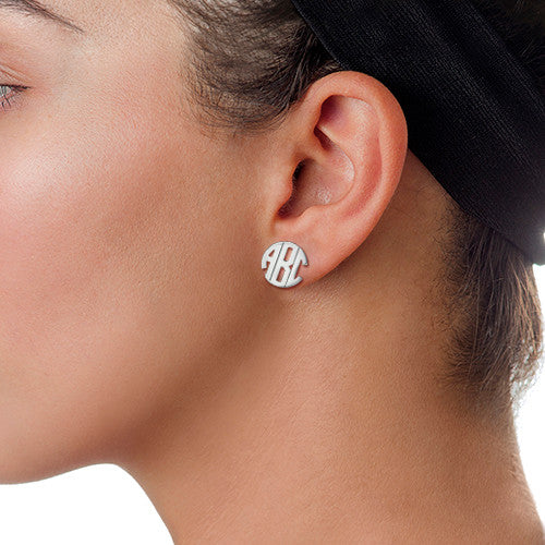 Block Monogram Earrings on model