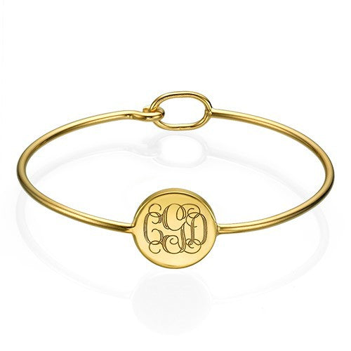 Round Monogram Bangle gold