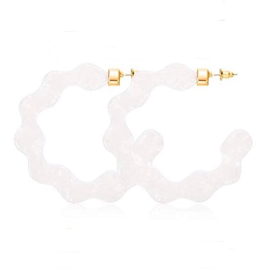 Scalloped Hoop Earring White