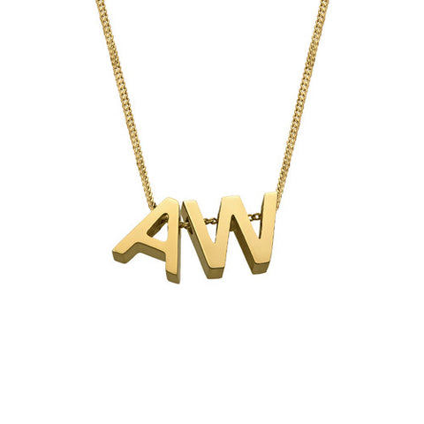 Floating Initials Necklace gold