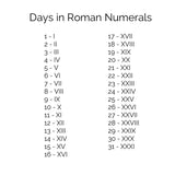 days in roman numerals
