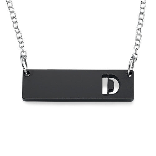 pop initial bar necklace black