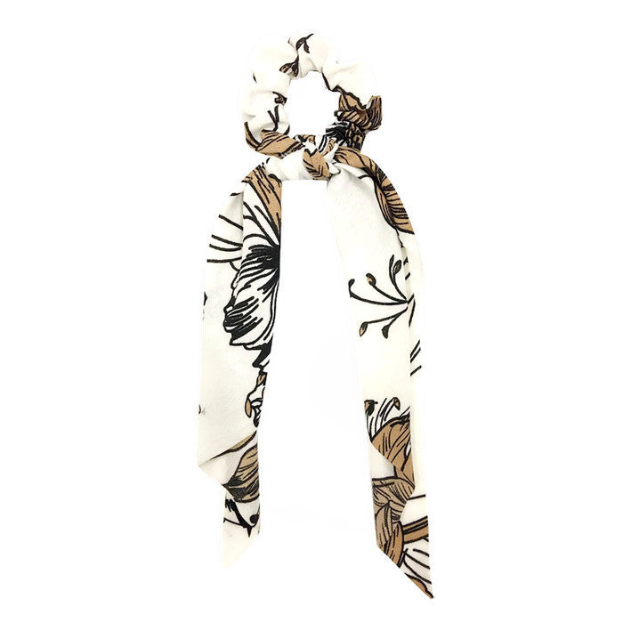 Hair Scarf Scrunchie Ivory / Brown