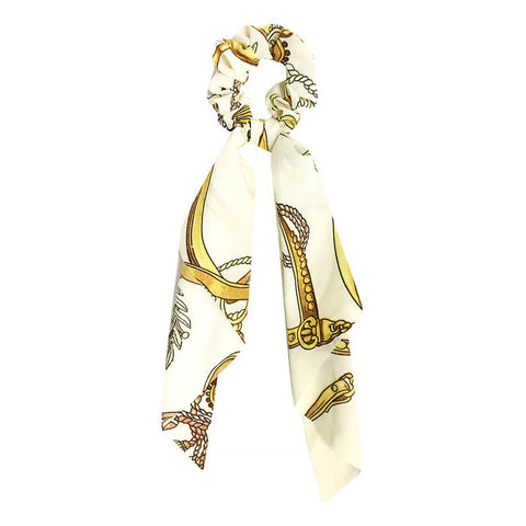 Hair Scarf Scrunchie Ivory / Gold