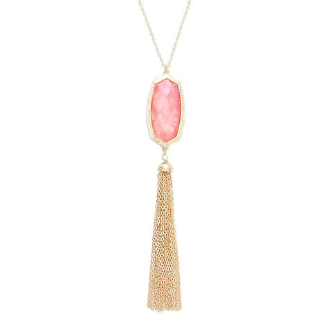 Josie Tassel Necklace Blush