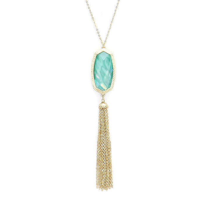 Josie Tassel Necklace Mint