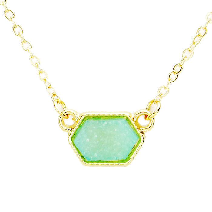 Druzy Pendant Necklace Mint