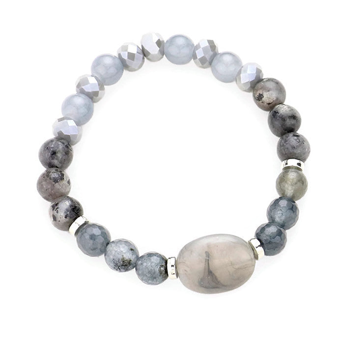 Natural Stone Stretch Bracelet Gray