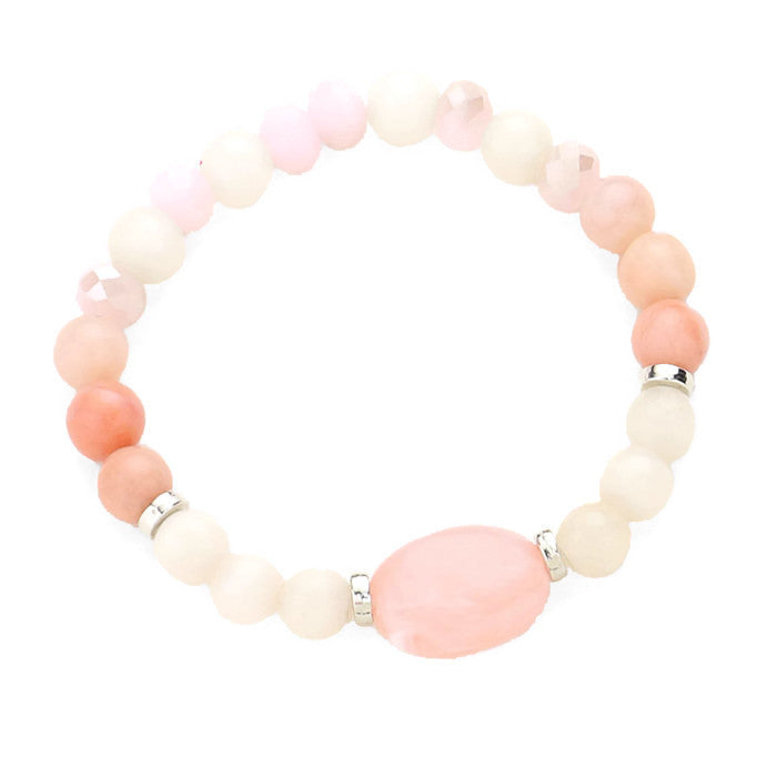 Natural Stone Stretch Bracelet Pink