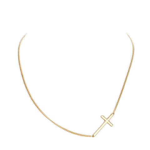 Sideways Cross Necklace Worn Gold