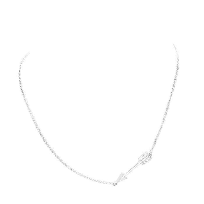 Sideways Arrow Necklace Worn Silver