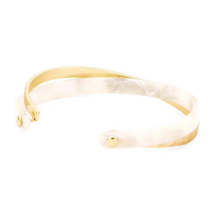 Celluloid Criss Cross Cuff Ivory