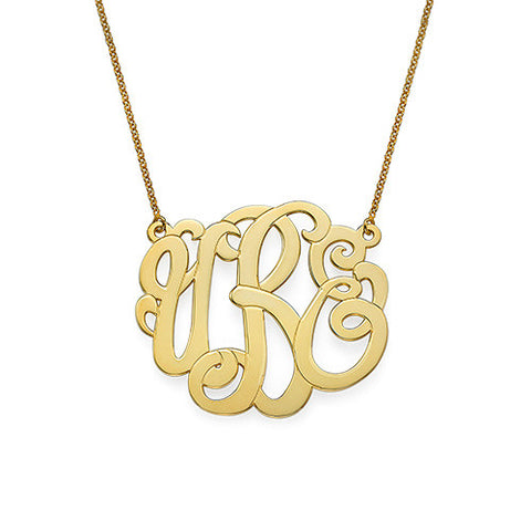 modern monogram necklace gold