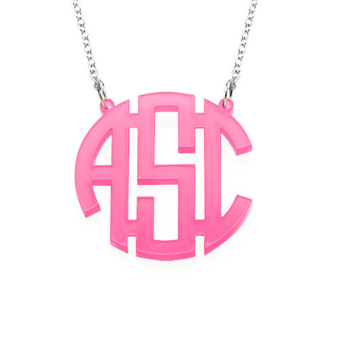 Pop Monogram Necklace pink