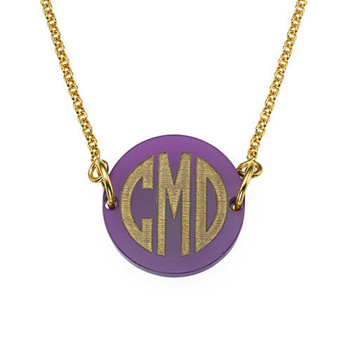 Pop Block Monogram Necklace gold
