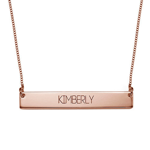 Bar Name Necklace rose gold
