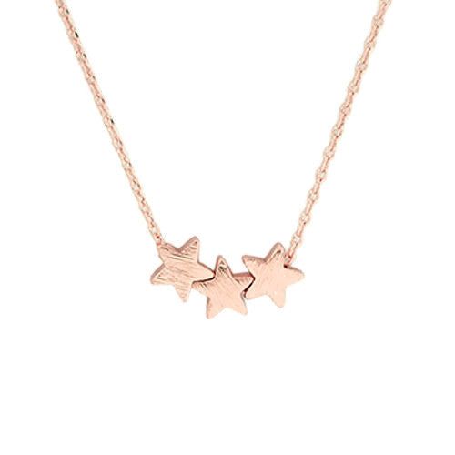 Star Trio Necklace Rose Gold