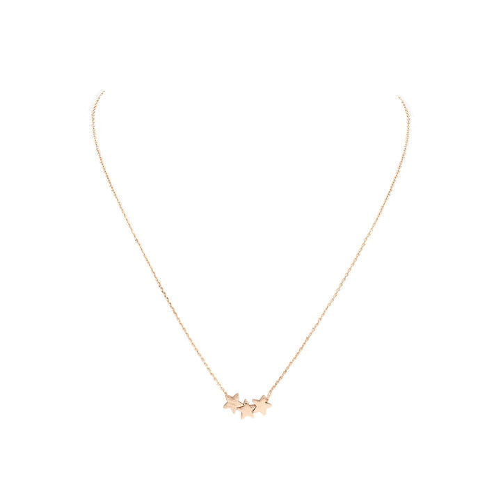 Star Trio Necklace Rose Gold alt