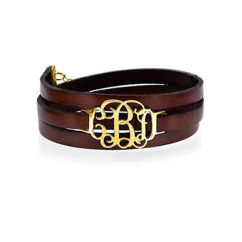 leather wrap monogram bracelet gold