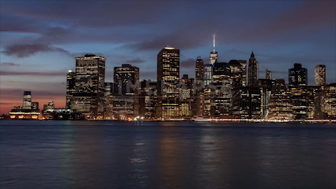 Time-lapse New York: Lower Manhattan Sunset To Night